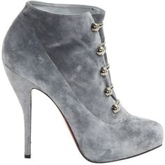 Pre-owned Christian Louboutin Ankle Boots ($398) ❤ liked on Polyvore featuring shoes, boots, ankle booties, grey, women shoes ankle boots, grey bootie, ankle boots, gray short boots, grey boots and grey bootie boots