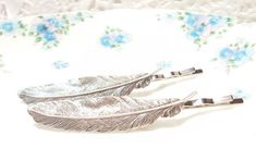 Silver Feather Hair Pins - Bobby Pin - Woodland Collection