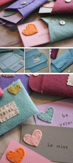 Felt Valentine's Cards and Envelopes - 14 Heartwarming DIY Valentine's Day Cards To Wow Your Valentine