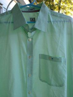 Peter Millar Men's Cotton Long Sleeve Shirt Extra Extra Large Mint green #PeterMillar #ButtonFront