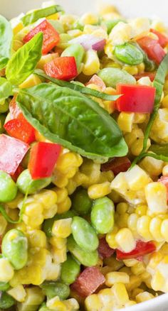 Roasted Corn and Edamame Salad Recipe ~ A bright and delicious summer salad of roasted corn and edamame in a creamy and light dressing.