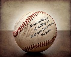 "Vintage Baseball Art - ""Never let the fear of striking out keep you from playing the game"" boy's room decor, baseball art on Etsy, $19.00"