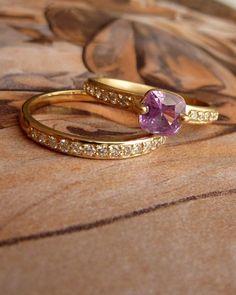 Pink Cushion Cut Sapphire and Diamond Ring