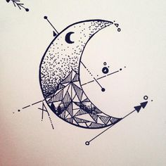 geometric tattoo moon - Buscar con Google