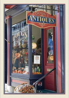 Although he loves his old stuff so much, he'd never want to sell. Antique Shops, Vintage Shops, Storefront Signage, Building Front, Store Windows, Shop Fronts, Shop Around, Style Vintage, Shop Plans