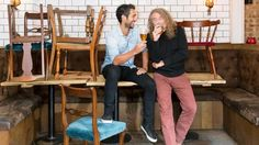 "Robert Plant and son Logan at Logan's beer brewery ""Beavertown Brewery"" in North London Nov. 6, 2016"