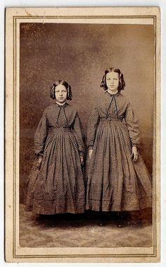 Civil War Period CDV of Standing Pontiac, Michigan Sisters in Identical Dresses