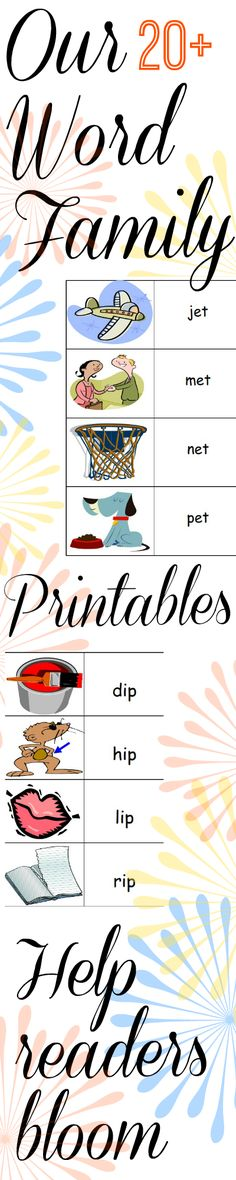 WORD FAMILIES from Storytime Standouts! More than 20 free PDFs for beginning readers including all, am, an, ap, at, ed, ell, en, et, eg, ip, it, ill, og, op, ot, ock, ub, uck #kindergarten #reading #wordfamilies