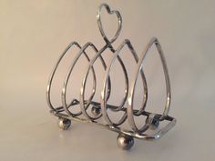 Here's a Toast to YOU! Victorian Sterling Silver Toast Rack, Perfect for Valentine's Day with a Heart Motif. Perfect for Breakfast in Bed! by PigtownDesign on Etsy