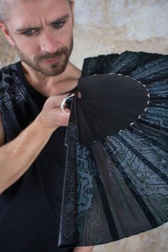 Jedi Hand Fan and Star Wars Folding hand fans with Sacred Geometry Cyberpunk Cosplay and Gothic Wedding Gift for Him Goth Outfit, Jedi Outfit, Cyberpunk, Michaela, Dark Mori, Hand Fans, Self Design, Cosplay, Foto Art