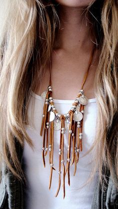 Leather Fringe Necklace Statement Necklace Coin Necklace Coin Charms Jewelry Afghan Kuchi Tribal Boho Native American Navajo Leather coin by ShopSparrow Charm Jewelry, Boho Jewelry, Jewelry Crafts, Beaded Jewelry, Jewelery, Jewelry Necklaces, Jewelry Watches, Ethnic Jewelry, Handmade Jewelry