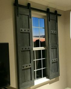 Interior Window Barn Door - Sliding Shutters - Barn Door Shutter Hardware Packages Available - Farmhouse Style - Rustic Wood Shutter | Wood shutters ... & Interior Window Barn Door - Sliding Shutters - Barn Door Shutter ... Pezcame.Com