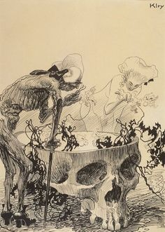 A Man and a Woman Examining Orchids which Grow from a Skull..Heinrich Kley. c. 1920. Minneapolis Institute of Arts i love this sort of creepy thing