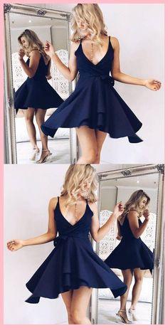 A-line Deep V-neck Homecoming Dresses Spaghetti Strap Dresses ASD2565 simple outfit. spaghetti strap homecoming dresses