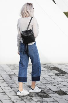 MING YU WANG Jewelry Pixel Sterling Silver Ring w/ Smokey Quartz Gemstone www.mingyuwangnewyork.com Cropped flared jeans & Kara backpack   MyDubio