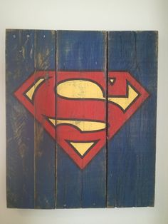 Large Vintage Superhero Sign Wood Pallet Sign by TheCreativePallet