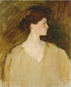 Sally Fairchild (profile sketch), unfinished   -  John Singer Sargent  1890.   Oil on canvas. 76.8 x 63.5 cm   Private Collection.