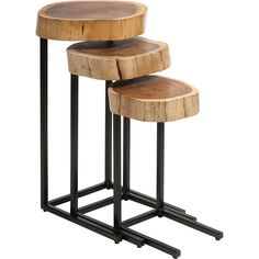 This set of three wood and iron nesting tables feature tree slivers in a multi-tonal finish. These tables can also be used for extra seating. and conveniently slide together for compact storage.