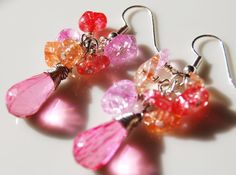 Hypoallergenic Pink Wire Wrapped Cluster Dangle Earrings by CoolJewelCreations