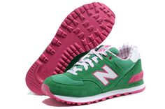 buy online 100c9 03760 New Balance 574 Women Green Pink White Running Shoes Online Lifestyle