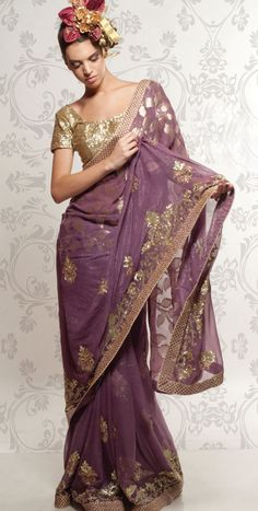 lilac and gold georgette saree