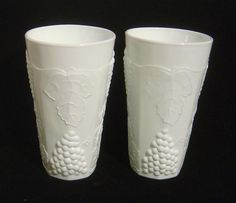 Indiana Colony white milk Glass HARVEST GRAPE Four (4)  16oz Tumblers Glasses  #IndianaColonyGlass