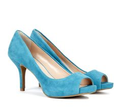 cute, blue suede heels that aren't SO tall :)