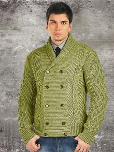 Men's hand knit buttoned cardigan. Stylish and comfy. Premium Quality Yarns. Any Sizes and Any Colors. Made by KnitWearMasters: 1000's of Satisfied Customers, W