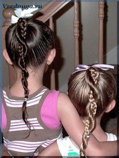 Косички для сестричек. #little #girl #hairstyle Колоски и косы - прически для девочек