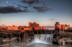 Rochester High Falls in Early Spring with Moon-rise