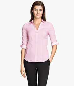 H&M US Shirt in Stretch Fabric $20 : Description  Long-sleeved, fitted shirt in stretch fabric with a V-neck. Buttons at front and at cuffs. Details  69% cotton, 29% nylon, 2% spandex. Machine wash cold  Imported