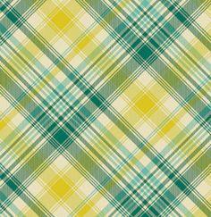 Green Yellow Turquoise Plaid Cotton Fabric  by shereesalchemy,