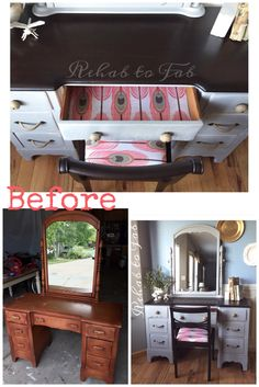 Desk/Vanity transformed by Rehab to Fab! @generalfinishes gel stain in Java.