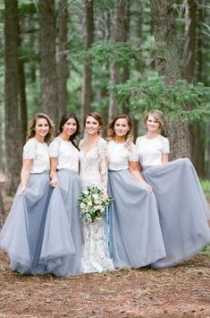 2018 Elegant Lace Dust Blue Long Bridesmaid Dresses Floor Length Boho Country Wedding Guest Wear Party Maid of Honor Gowns Formal - Prom Dresses Design Bridesmaid Dresses Long Blue, Bridesmaid Outfit, Wedding Bridesmaid Dresses, Wedding Party Dresses, Bridesmaid Skirt And Top, Tulle Wedding, Two Piece Bridesmaid Dresses, Spring Wedding, Grey Tulle Skirt