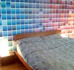 The Paint Swatch wall..I would love this for a guest room with a solid comforter..change color with seasons?