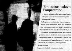 Anúncio da inauguração do Poupatempo em 20 de outubro de 1997