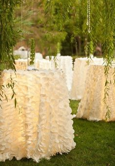 Stunning Petal Table Cloths with UnderTable Lighting