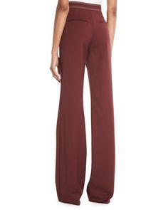 Gabriela Hearst Vesta High-Waist Wide-Leg Wool Pants w/ Contrast Topstitching Gabriela Hearst, Brown Pants, Wool Pants, Lycra Spandex, Silk Top, High Waist, Wide Leg, Sportswear, Contrast