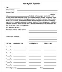 Past Due Payment Arrangement Agreement  Ez Landlord Forms  Rent