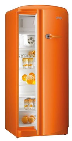 Gorenje Retro Funky Collection - Fridge freezers in three colours: raspberry pink, juicy orange and lime green.