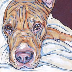 """Custom Pet Portrait Painting on Canvas in Acrylic 4"""" x 4"""" x 1"""" of a Dog, Cat, Other Pets, Sides Painted Ready to Hang or Sit on Flat Surface. Pit Bull Sample from Pet Portraits by Bethany"""