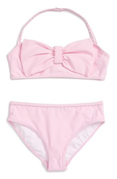 Lacy trim and a signature Kate Spade bow provide pretty finishing touches for a splash-ready bikini in a bubblegum-pink hue.