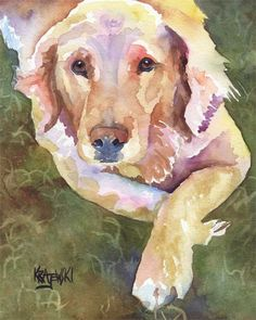 Golden Retriever hond Art Print van originele aquarel - 8 x 10