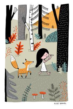 Elise Gravel illustration • forest • fox • girl • music • nature • cute