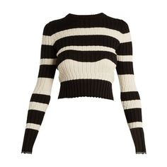 Proenza Schouler Striped cropped wool-blend sweater (€340) ❤ liked on Polyvore featuring tops, sweaters, shirts, crop tops, black stripe, ribbed crop top, striped crop tops, shirt sweater, graphic sweaters and ribbed sweater