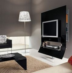 Minimalist Home Interior Design With LCD TV And Black Table, minimalist home decor, minimalist home office ~ Home Design Interior Design Minimalist, Best Home Interior Design, Contemporary Interior Design, Minimalist Home, Interior Design Living Room, Living Room Designs, Minimalist Fashion, Living Spaces, Installation Home Cinema