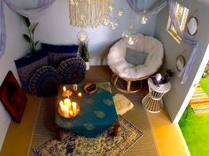 Design a Relaxing Retreat What a space for relaxation. Turn your backyard shed into a cozy meditation room with extra large pillows, rugs, houseplants, and plenty of candles. Meditation Raumdekor, Meditation Room Decor, Relaxation Room, Meditation Benefits, Relax Room, Zen Space, Zen Room, Prayer Room, Prayer Closet
