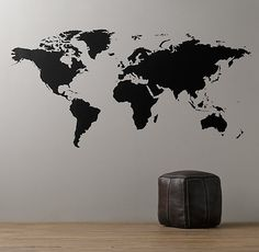 World Map Chalkboard Decal