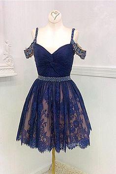 2017 short homecoming dress, navy blue homecoming dress, lace homecoming dress, princess homecoming dress