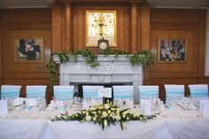 Top table floral arrangement - white rose and lily